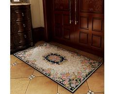 Puerta de entrada jardín europeo home mats estera antideslizante cojín tapete lavable almohadilla Ordenador llevable,100*150cm,T02 azul