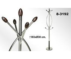 DonRegaloWeb - Perchero de pie cromado con las puntas de madera. Medidas: 183x30 cm