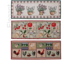 Elegantes tapetes súper absorbentes de cocina Jacquard, lavables en máquina, antideslizantes / Alfombra pequeña, tela, Morado, 134 x 49 cms