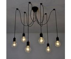 6 luces - Inicio Deco Vintage DIY Industrial accesorio de la lámpara colgante de luz Retro Lámpara de Techo de la lámpara de araña 6/8/10 luces (E27 base, Cada cable 1.5m, Ajustable)