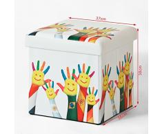 SoBuy® 38*38*38cm, caja taburete, banco, puff, imágenes: Waving Hands, FSS43-K, ES