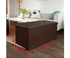 XL SoBuy 110x48x48cm, caja taburete, banco, puff arcón, puff caja, cesto para ropa, marrón, FSS27-EL-KA