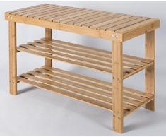 Zapatero de bambú con 2 estantes unidad de pantalla para el pasillo – Ideal de madera almacenamiento de zapatos en color marrón natural – Altura 70 x 45 x 28