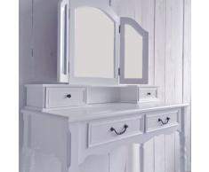 Dresser tocador románticos, blancos, 4 cajones - 3 niveles