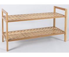 Zapatero de bambú con 2 estantes para el pasillo o cuarto de baño – ideal toalla de zapato de madera unidad de almacenamiento en color marrón – 68 W x 40H X 27d