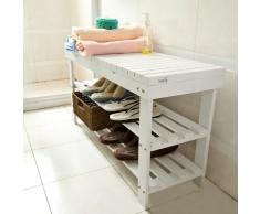 Sobuy Zapatero, banco zapatero, estantería de bambú con cajón en color madera L90 xPT29 xAH45cm FSR10-L-W, blanco