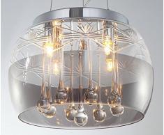 FARON de l Ø 30 cm, Araña de cristal - Candelabro Lámpara De Araña con pantalla de cristal