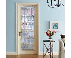 Puerta zapatos organizador, 24 bolsillo nailon tejido de malla sobre la puerta para colgar zapatero soporte de almacenamiento para zapatos limpieza suministros juguetes y muñecas Barbie y accessoriesr
