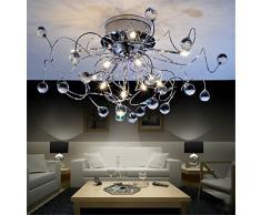 Lámpara colgante tipo araña de cristal de diseño moderno, creativo y minimalista para dormitorio y salón, 11 x G4, 20 W, 73 cm de diámetro (incluye bombillas)