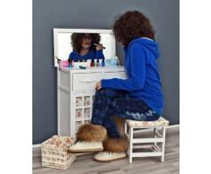 Tocador con silla tocador de mesa antigua estilo rústico vestirse de blanco, con espejo, taburete y una cesta a juego