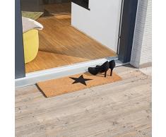 Relaxdays - Felpudo Largo y Estrecho de Fibra de Coco con Estrella Negra Grande y Parte Inferior Antideslizante, Ideal para Interior y Exterior, 1,5 x 75 x 50 cm, Color marrón Natural