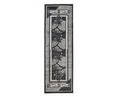 Tapiso Alfombra De Pasillo Moderna Fina - Color Gris Negro Diseño Bordatura Flores - Colección Fiesta 100 x 200 cm