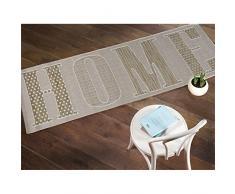 """Hogar dulce hogar moderno tejido plano alfombra de corredor para pasillos - 60 x 230 cm para colgar, polipropileno, beige, 60x230cm (2'0""""x7'6"""")"""