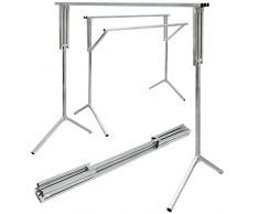 eyepower Perchero de Burro 100% metal | portátil versátil | 3 Barras plegables para colgar prendas 150 cm de largo | plateado