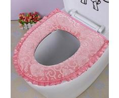 Asiento Del Inodoro Higiénico Estera De La PU Impermeable Anillo De La Almohadilla De Baño Aseo Con Cierre Al Baño De Terciopelo De Oro Tapete Inodoro Lavable,Pink-OneSize