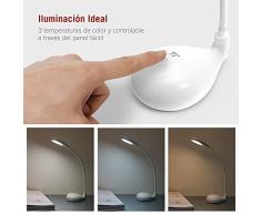 Luz Lectura LED TaoTronics Lámpara Flexo (3,5w, 150lumenes, Diseño Cuello Cisne, 3 Color de Luz 2800-5500K, Batería Integrada 1200mah y LED que Cuida Los Ojos