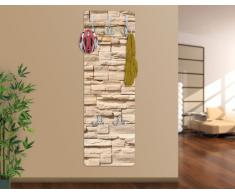 WTD mantiburi - Perchero decorativo para pared (tablero de madera DM, diseño de muro de piedra asiático)