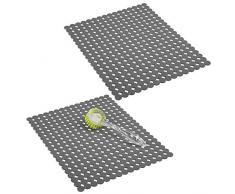 mDesign Juego de 2 alfombrillas para fregadero protectoras – Escurridor de vajilla decorativo extragrande con diseño de puntos – Tapete protector antideslizante y recortable de PVC – gris