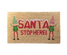 Fibra de Coco (Fibra de Coco Felpudo) Santa Parada aquí, Navidad Elfo. De Goma respaldado