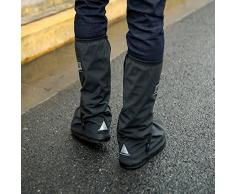 Lluvia Zapatos Covers – yopindo impermeable antideslizante reutilizables cremalleras mujeres hombres ciclismo tormenta nieve motocicleta bicicleta funda para lluvia Gear alta botas de lluvia de jardín soporte de zapatos, negro