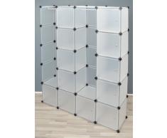 Ts-Ideen - Armario 150 x 187 cm, con 12 compartimentos y 2 barras de suspensión, de color: Blanco transparente