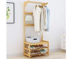 SUA ONG Percheros Abrigo Simple Cambio de Estante Zapato Banco Colgador Piso Dormitorio Ropa Estante Perchero Multifuncional de bambú para Piso -07