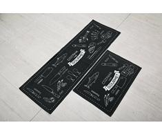 indeedshare cocina alfombra decorativa de refuerzo de goma antideslizante Felpudo alfombra área entrada mats conjuntos 2 piezas
