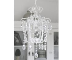 Lámpara de araña Sophie pequeña, de un brazo, de color blanco con cristales, 44 cm de alto, lámpara de araña para el techo