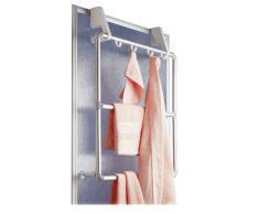 Wenko Compact Toallero para Puertas y Cabinas de Ducha 3 Barras, Aluminio, Plata Mate, 14.5x62.5x78 cm