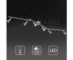Uchrolls Foco LED para techo I 6 vías lamparas de techo led I Luz de techo I Orientable y giratoria Lámpara de salón giratoria (incluye 6 x 3.5 W bombillas LED GU10)