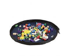 BOZEVON Organizador de juguete infantil portátil Almacenamiento de bolsas Mat Alfombras de la caja alfombras Baby Play tapete Limpieza al aire libre ordenado por el cordón de la bolsa (100 cm) azul real