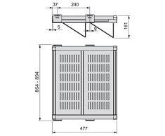 Emuca 7087413 Accesorio zapatero extraible con cierre suave para armario, ancho regulable 864-894mm, pintado moka