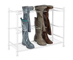 mDesign Zapatero para botas - Estante organizador de zapatos y botas altas - Mueble zapatero ahorrador de espacio para 6 pares de botas de agua, de montar o de mujer - blanco
