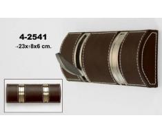 DonRegaloWeb - Perchero de pared de 2 ganchos plegables de polipiel en color marrón con ganchos de metal