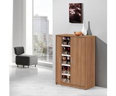 Meka-Block K-9468N - Armario zapatero, 2 puertas con baldas, madera, color nogal