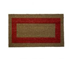 Oryx 5291055 - Felpudo fibra coco raya roja, color marrón