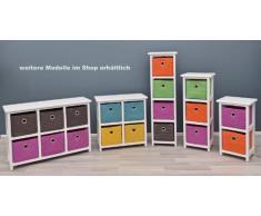 Cómoda, Mesa de noche, Armario de 44 cm de alto, Estantería para baño en blanco con 2 x 2 cestas en colores, ideal para dormitorio de niños, oficina, baño, pasillo y dormitorio de bebé