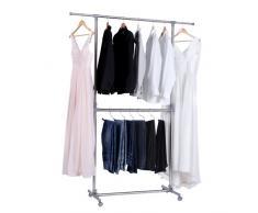 Songmics LLR401 - Perchero Barra para colgar ropa Con ruedas Altura ajustable (113cm-198cm)