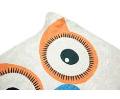 Imprimir Alfombras Tapetes juegos infantiles lavables alfombra de la estera con el diseño de los búhos en naranja amarillo rosa rosa Negro azul coloreado blanco Größe 100x140 cm