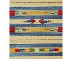Jute & Co. Kilim - Alfombra tapete (algodón, Tejido a Mano, 60 x 120 cm), Multicolor