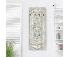 Bilderwelten Perchero de Madera Wood Panel Persian Vintage IV - Ganchos Negros 100x40 cm