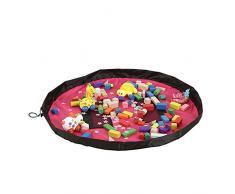 BOZEVON Portable Child Toy Organizador Almacenamiento Bolsa Mat Tapas Alfombras Baby Play tapete Limpieza al aire libre ordenado por el cordón bolsa (100cm) rosa rojo