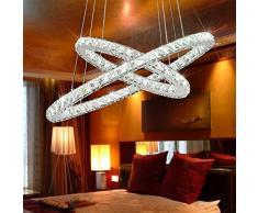 Candelabros tenlion Cristal LED Lámpara colgante Lámpara de techo bombillas con dos anillos ovalados 40 * 60 cm Luz Natural para un comedor Salón Dormitorio Cuarto de trabajo etc. 54.00W 220.00V