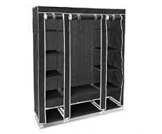 Relaxdays 10018857_46 - Armario/ropero plegable hecho de tubos de acero y recubrimiento de tela, organizador para ropa y toallas 12 estantes, 175.5 x 148 x 43 cm, color negro