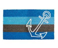 Shoe-Max YH 101520 Classic Flock - Felpudo ( fibra de coco y PVC, parte inferior antideslizante, 74 x 44 cm), diseño de rayas y ancla, color azul y marrón