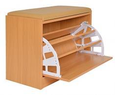 ts-ideen Zapatero armario fibra de madera roble con asiento Marrón