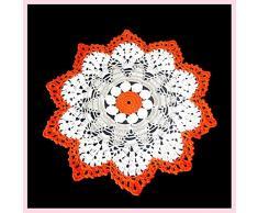 Tapete grande blanco, gris y naranja de ganchillo - Tamaño: ø 34 cm - Handmade - ITALY