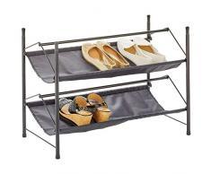 mDesign Organizador de Calzado con 2 estantes – Mueble Zapatero apilable de Metal y Tela – Soporte para Zapatos Compacto para el Pasillo, el Armario o el Dormitorio – Negro