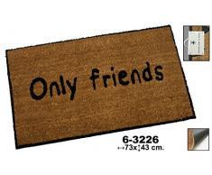 DonRegaloWeb - Felpudo de fibra de coco decorado con la palabra only friends en color marron y negro.