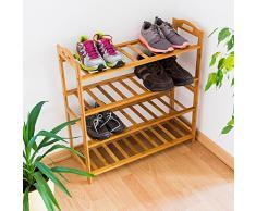Relaxdays 10019017_349 - Estante para zapatos de bambú, 4 pisos, 70.5 x 69 x 26 cm